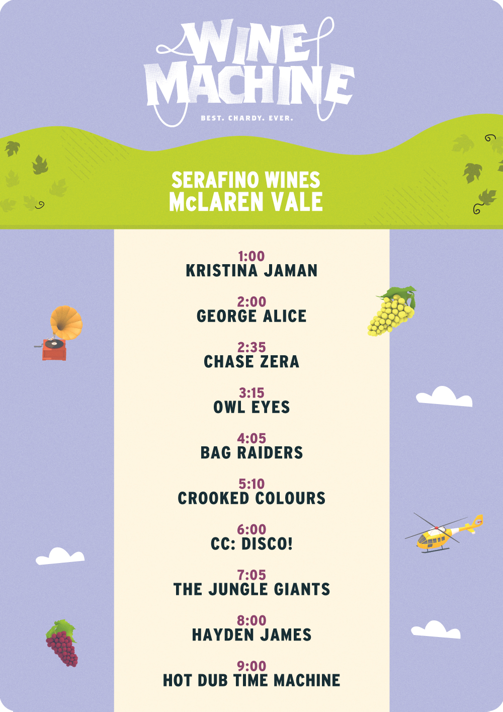 Wine machine set times mclaren vale